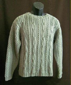 481db238fabf Seagull cables on a crew neck sweater in men s and women s sizes. Heavy  worsted weight yarn.